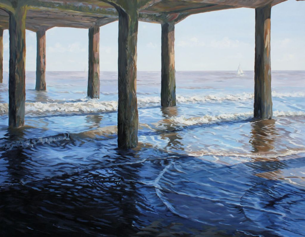 Circles under the Pier Seascape Pier Walton on the Naze Essex Dawn Hall Artist Arcylic on Canvas Painting