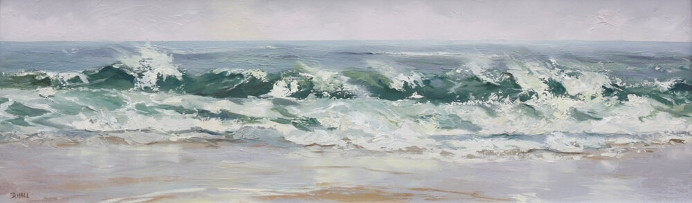 Cornish Wave Oil on board Cornwall UK Dawn Hall Artist