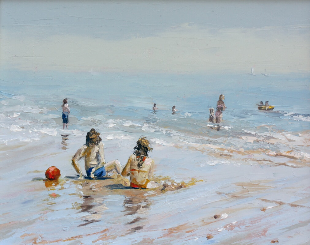 Digging-in Dawn Hall Artist Walton on the Naze Essex beach children playing sand water Oil on board painting