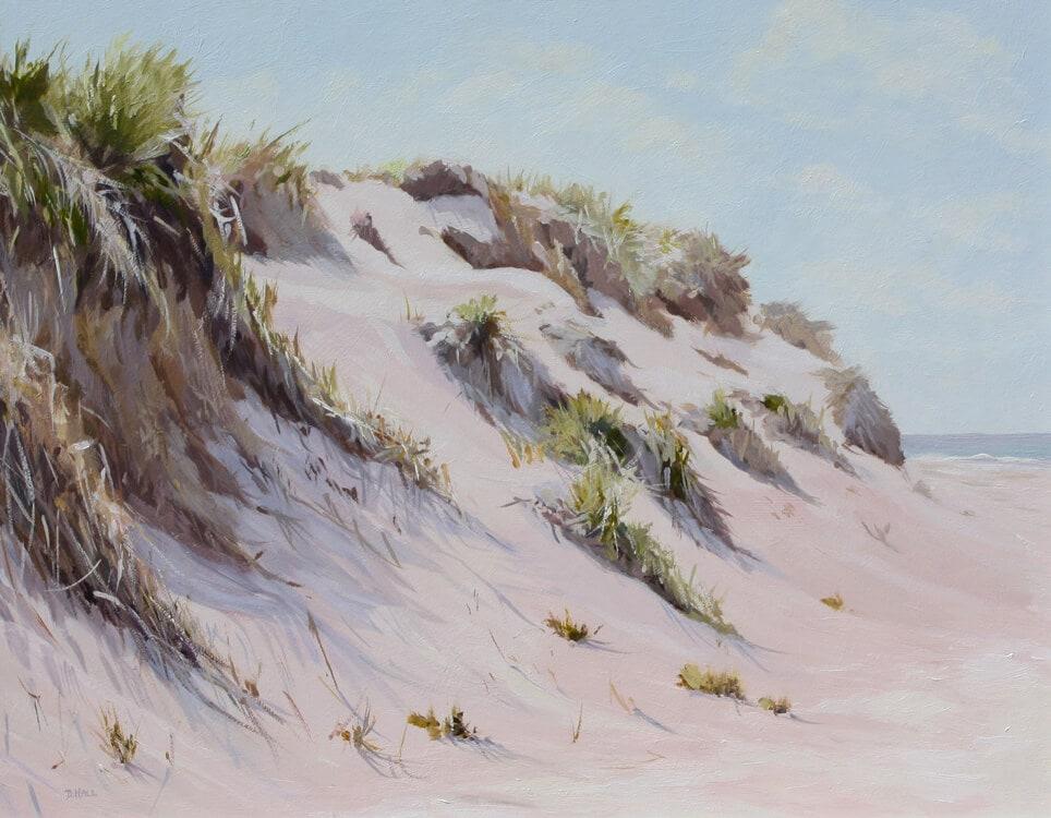 Dune sand sea Oil on board, Dawn Hall Artist Walton on the Naze Essex