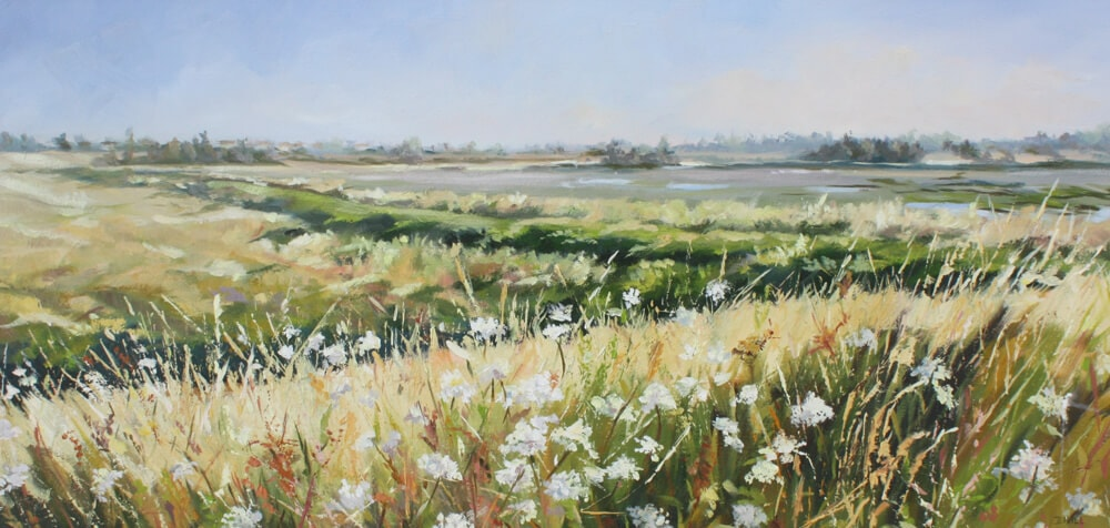 Grasses beside the Wade Oil on board Walton on the Naze Backwaters Essex Dawn Hall Artist