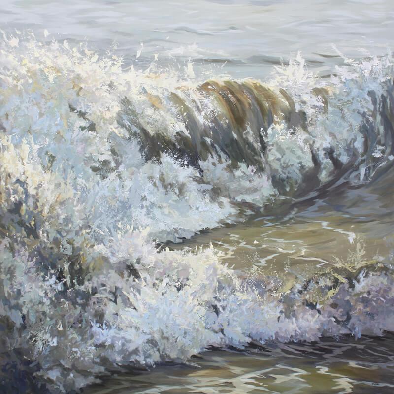 Green Wave Seascape Pier Walton on the Naze Essex Dawn Hall Artist Acrylic on Canvas Painting