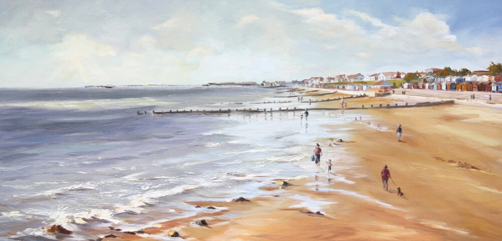Hipkins Beach Oil on board, Walton on the Naze, Frinton on Sea, Essex Dawn Hall Artist