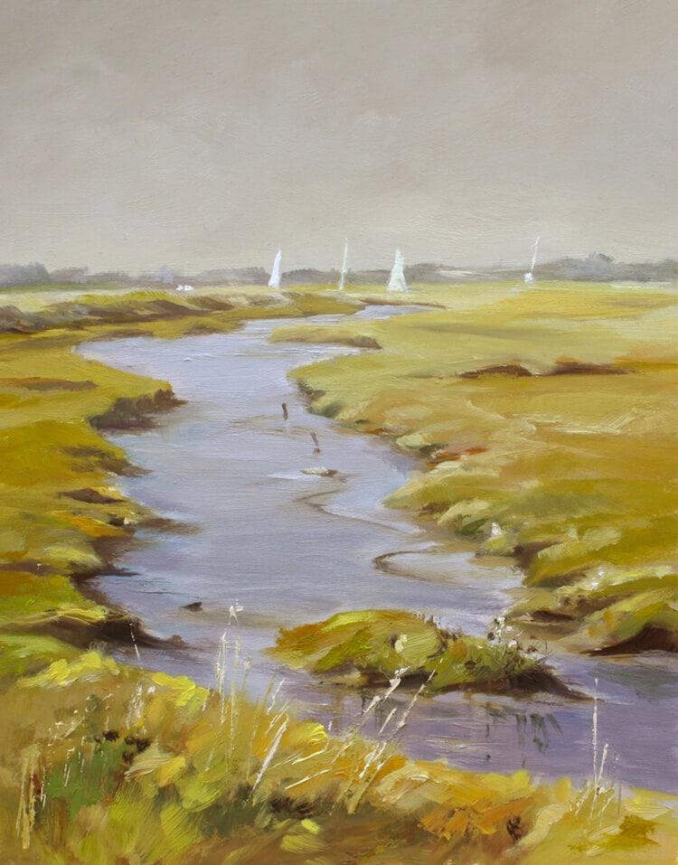 Creek Oil on board Walton on the Naze Backwaters Essex Dawn Hall Artist