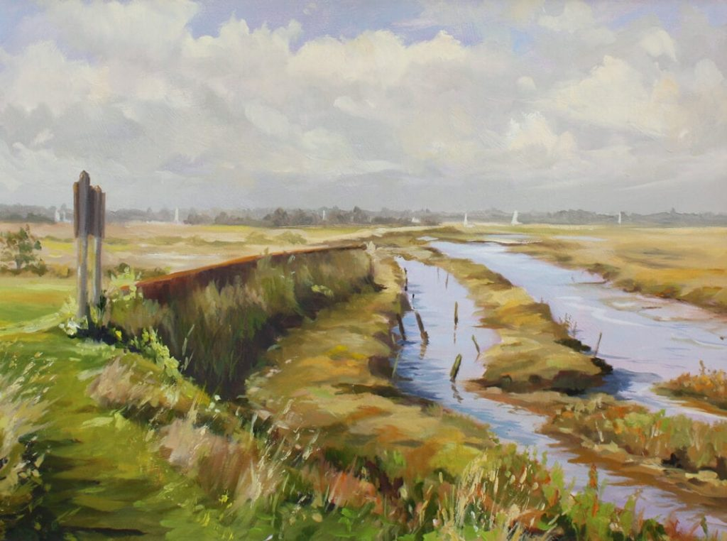 Along the wall painting Dawn Hall Artist Walton on the Naze Essex backwaters boats landscape