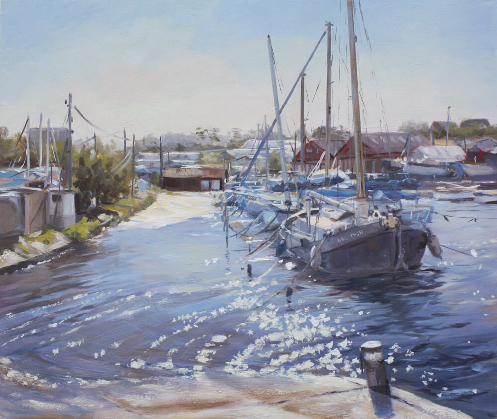 Marooned at the Yacht club painting Oil on board walton on the naze essex boats sea sunshine