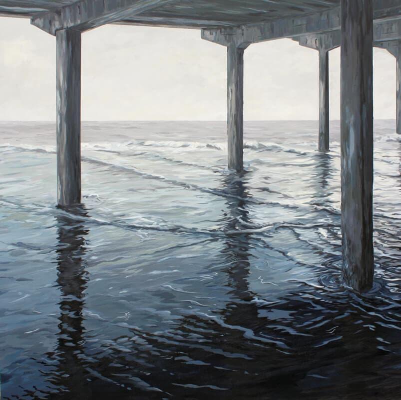 Monochrome Pier Walton on the Naze Essex Dawn Hall Artist Arcylic on Canvas Painting