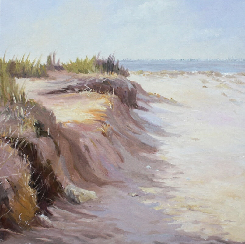 Naze Beach sand sea Oil on Canvas, Dawn Hall Artist Walton on the Naze Essex Harwich