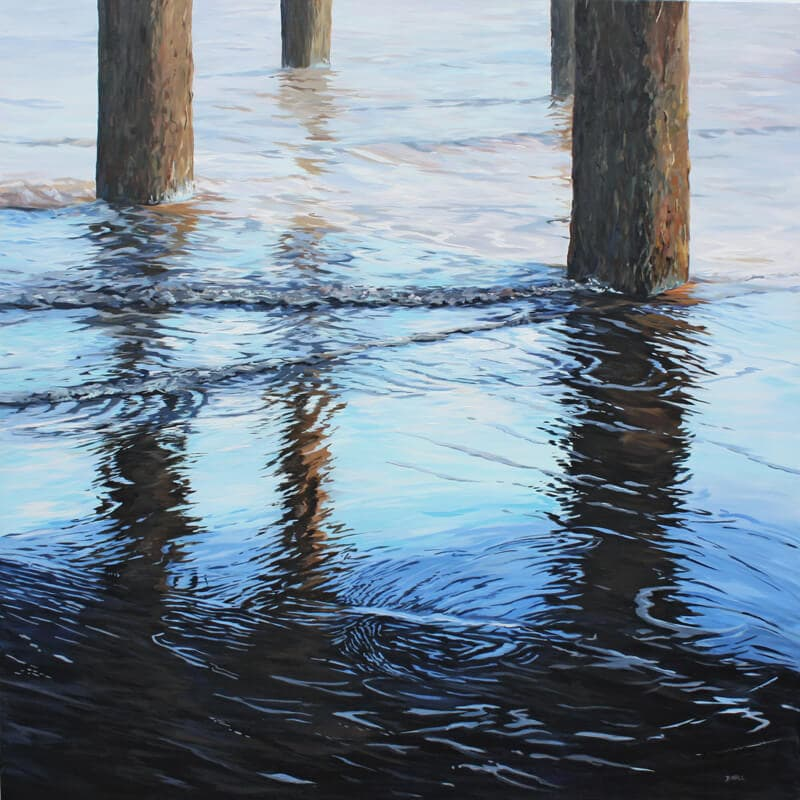 Ripples under the Pier Seascape Pier Walton on the Naze Essex Dawn Hall Artist Arcylic on Canvas Painting