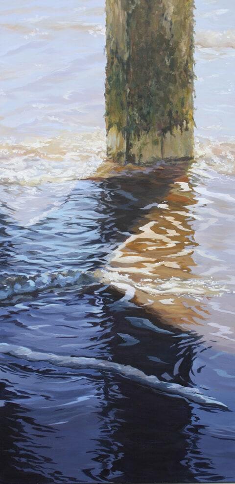 Ripples 6 Seascape Pier Walton on the Naze Essex Dawn Hall Artist Arcylic on Canvas Painting