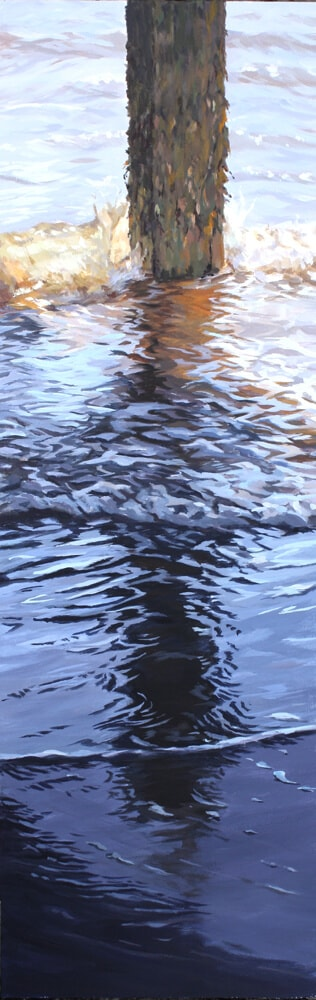 Ripples 7 Seascape Pier Walton on the Naze Essex Dawn Hall Artist Arcylic on Canvas Painting