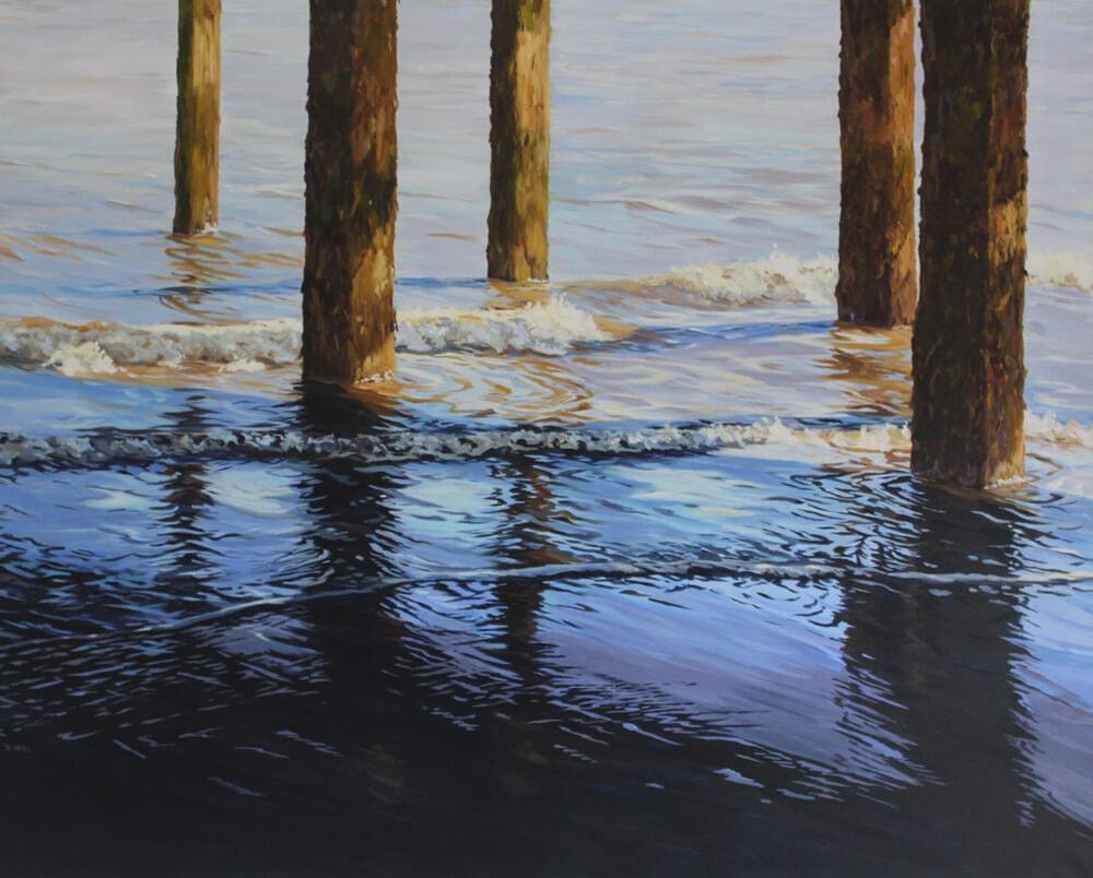 Ripples 8 Seascape Pier Walton on the Naze Essex Dawn Hall Artist Arcylic on Canvas Painting