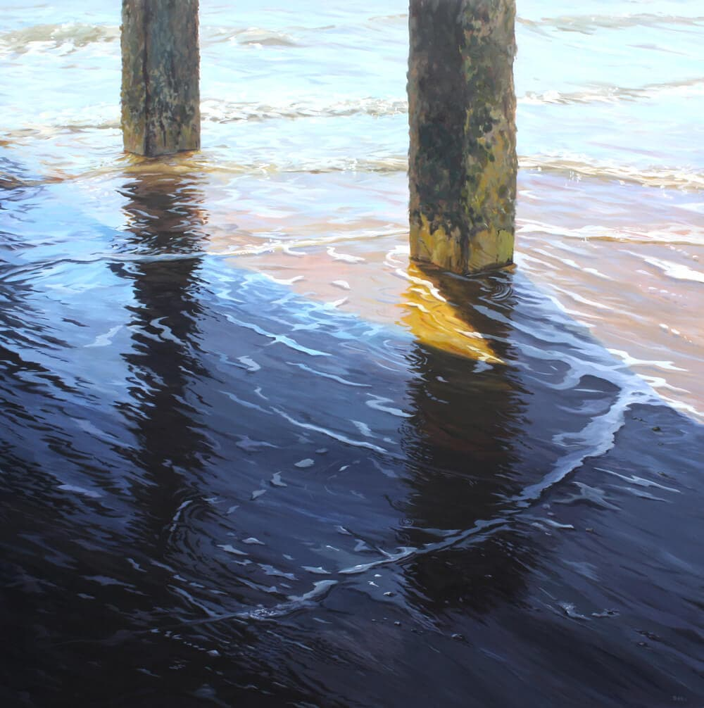 Ripples 5 Seascape Pier Walton on the Naze Essex Dawn Hall Artist Arcylic on Canvas Painting