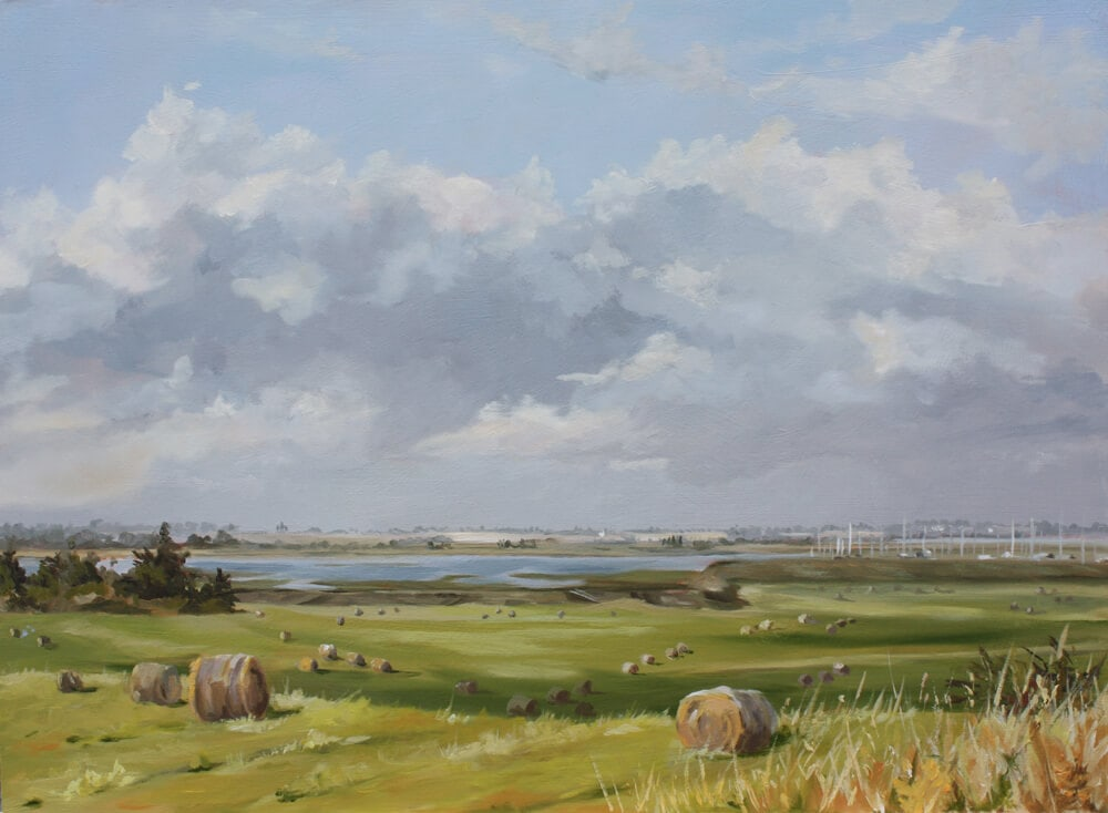 September Oil on board Dawn Hall Artist, Walton on the Naze, Essex Painting Fields Marina sky backwaters