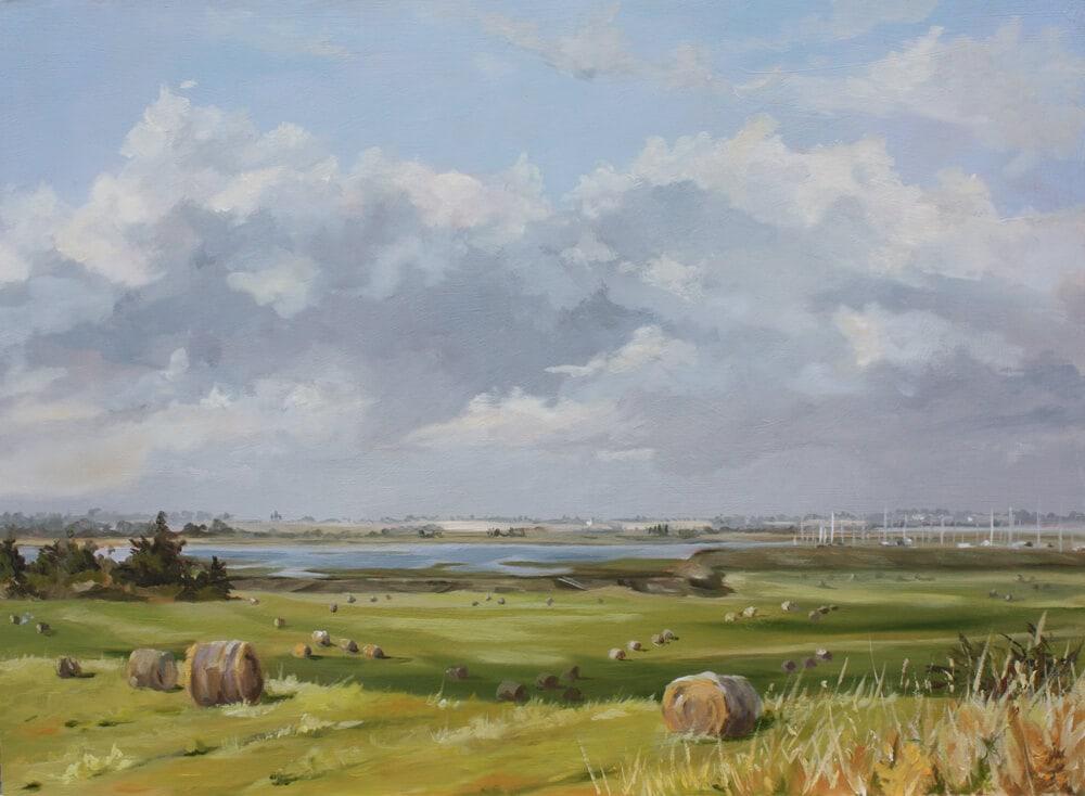 September Oil on board Dawn Hall Artist, Walton on the Naze, Essex Painting Fields Marina sky backwaters