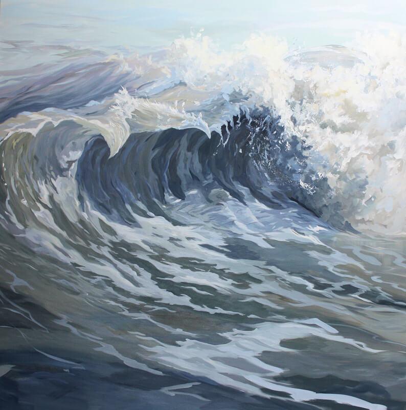 Silver Wave Seascape Walton on the Naze Essex blue sea Dawn Hall Artist Acrylic on Canvas