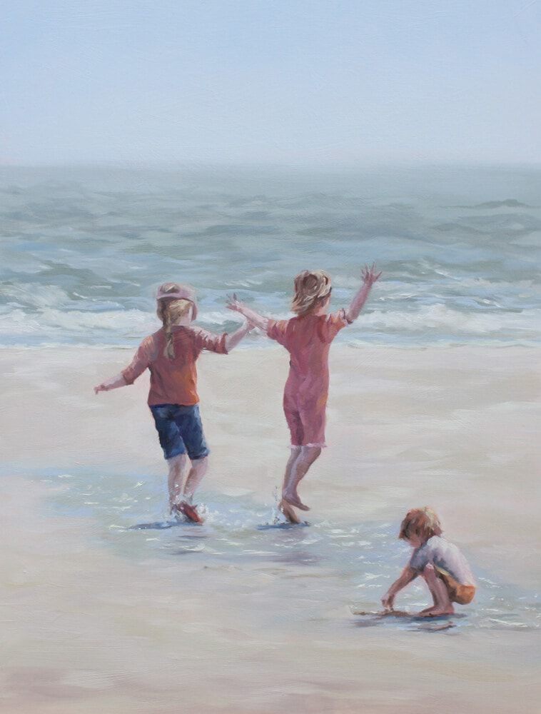 Squealing with Joy Dawn Hall Artist Walton on the Naze Essex beach children playing sand water Acrylic on board painting