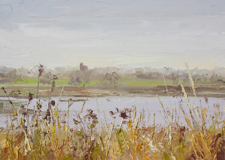 Toward Kirby Walton on the Naze Essex Backwaters Dawn Hall Artist Oil on board