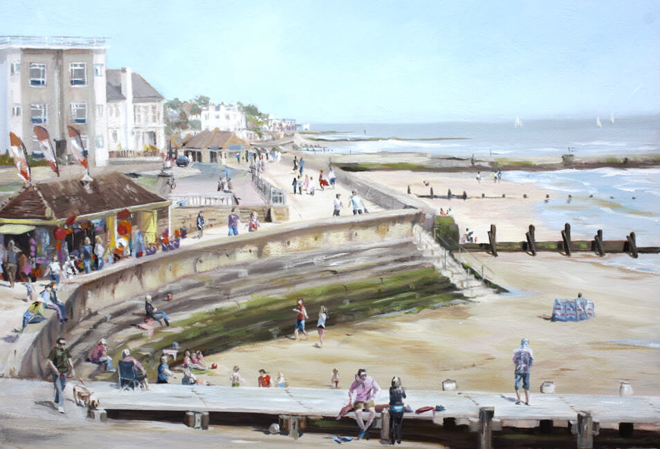 Walton Fun Walton on the Naze Essex tourists beach doughnuts sea sand Dawn Hall Artist Acrylic on board