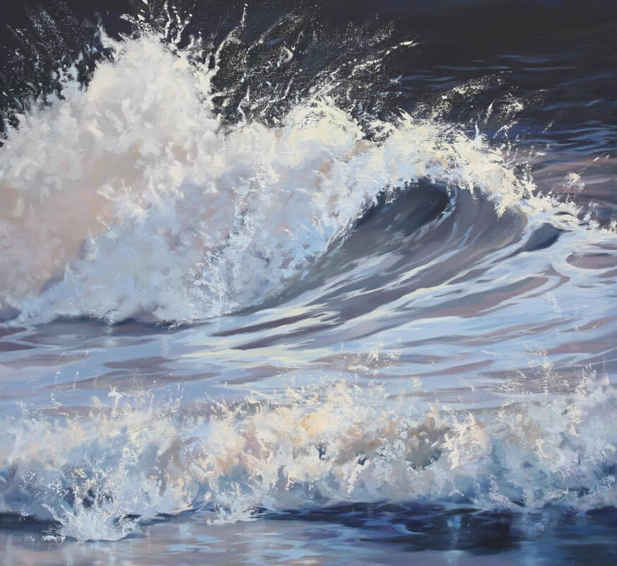 Wave 10 Seascape Walton on the Naze Essex blue sea Dawn Hall Artist Oil on Canvas