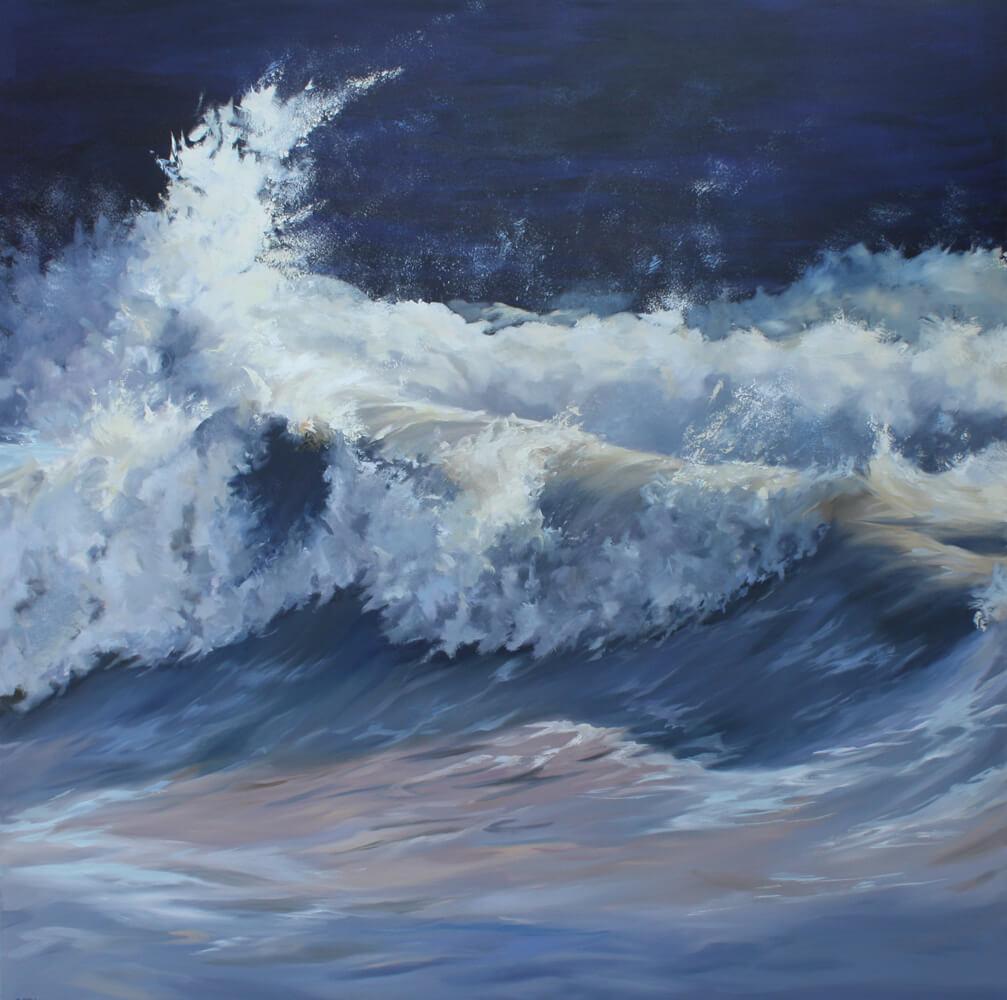 Wave 19 Seascape Walton on the Naze Essex blue sea Dawn Hall Artist Oil on Canvas Painting