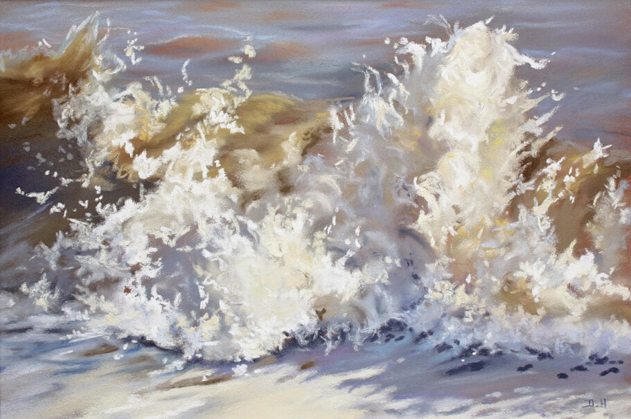 Wave 32 Seascape Walton on the Naze Essex splash sea Dawn Hall Artist Pastel