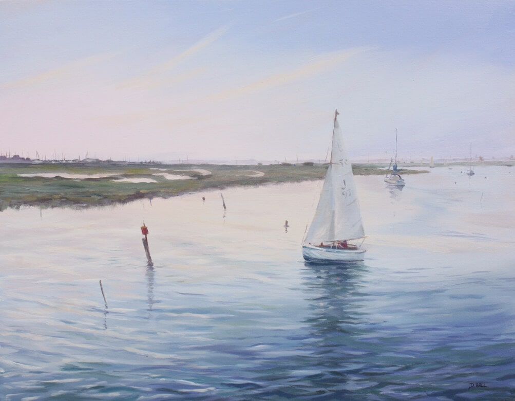 Yacht backwaters marina sea sky oil on canvas Dawn Hall Artist Walton on the Naze Essex