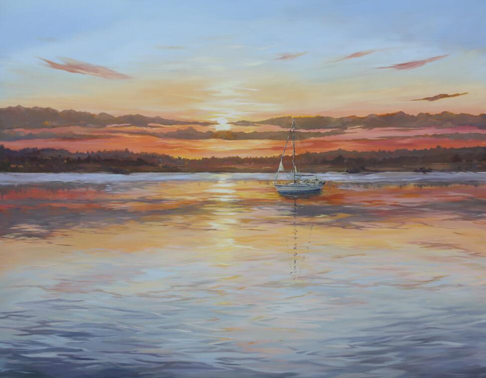 Yacht 5 Walton on the Naze Essex Dawn Hall Artist Oil on canvas