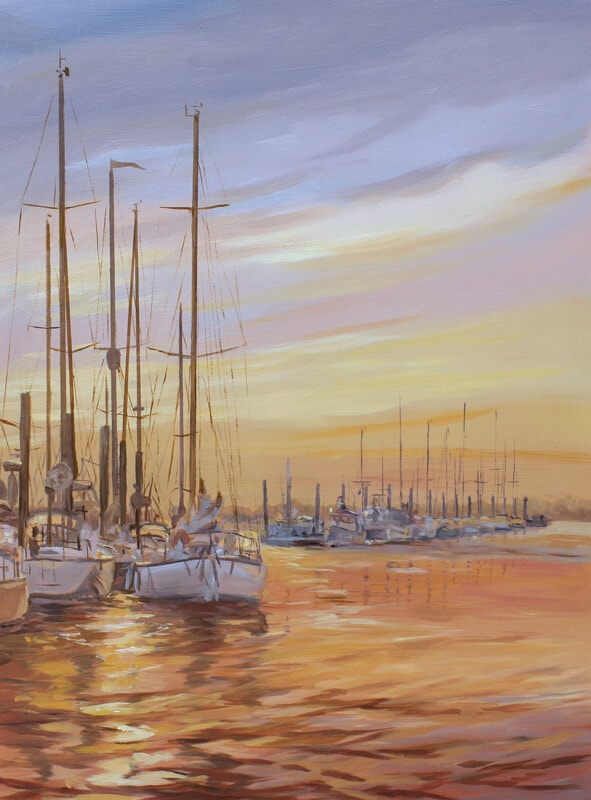 Marina Sunset Titchmarsh Marina Walton on the Naze Essex Dawn Hall Artist Oil on board