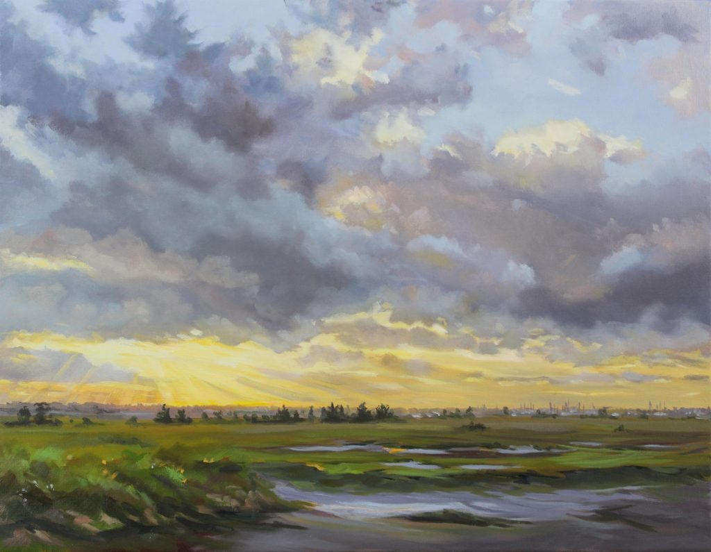 Dramatic Dust Walton on the Naze Backwaters Essex, Dawn Hall Artist Oil on canvas