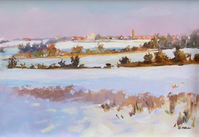 Brief Snowfall1 Walton On The Naze Essex Dawn Hall Artist Oil on Board Painting