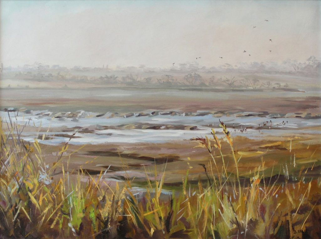 Gold and Mist painting Walton on the Naze Essex Oil on Board Dawn Hall Artist