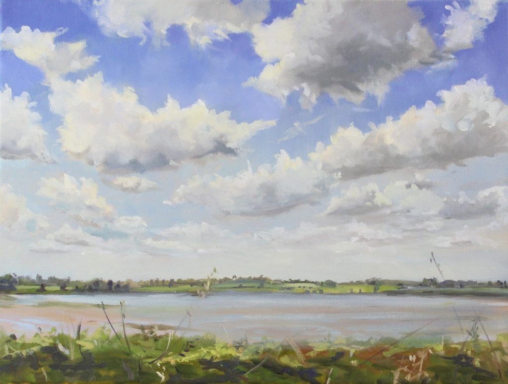 Windy Day Walton on the Naze backwaters Essex Dawn Hall Artist Oil on canvas