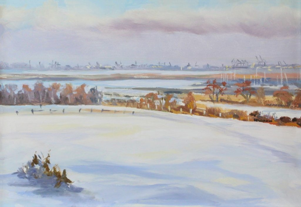 Brief Snowfall2 Walton On The Naze Essex Dawn Hall Artist Oil on Board Painting