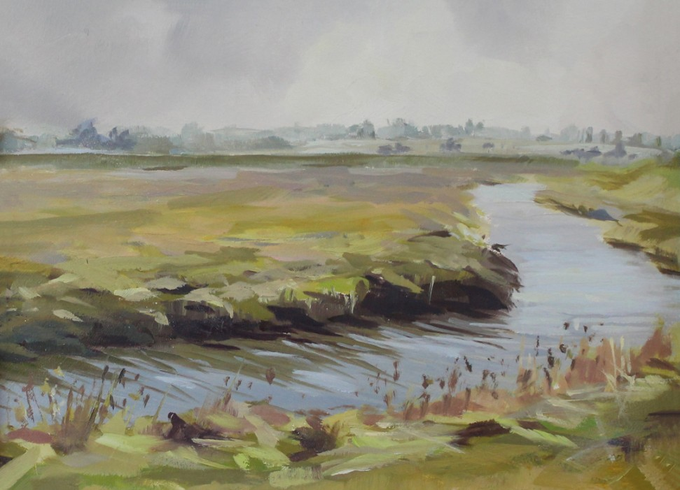 Island Lane1 Walton On The Naze Essex Dawn Hall Artist Oil on Board