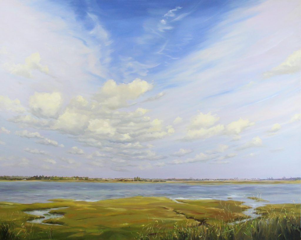Summer Clouds Walton on the Naze backwaters Essex Dawn Hall Artist Oil on canvas