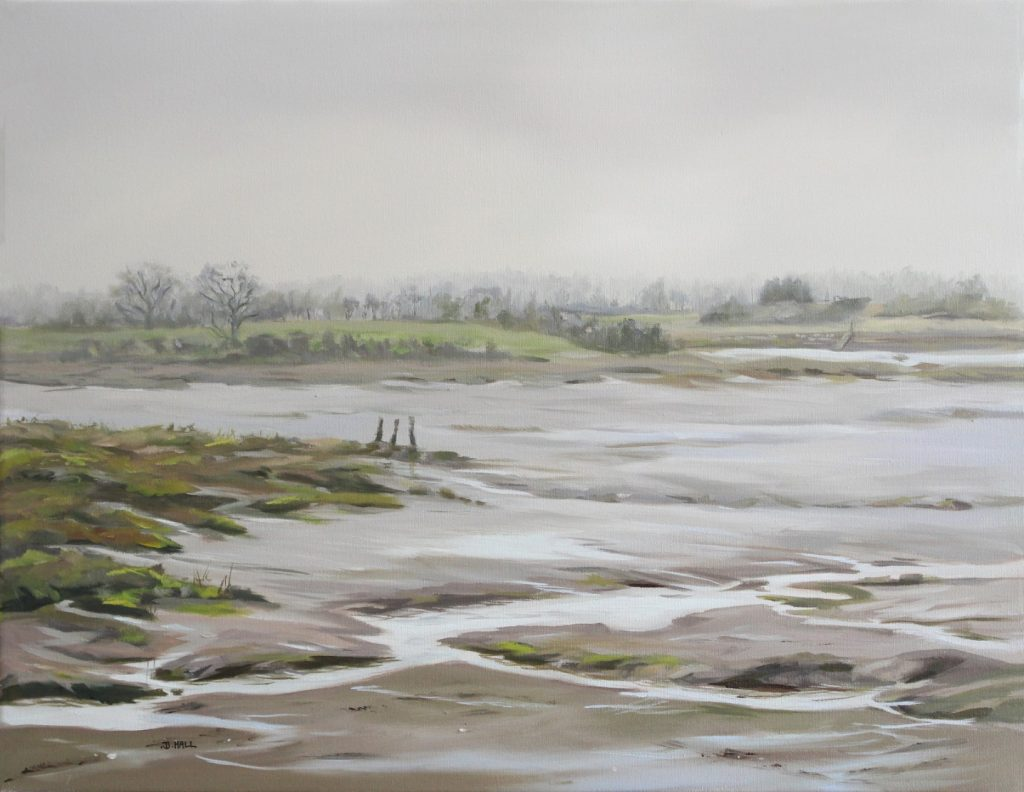 Silver Day Walton On The Naze Backwaters Essex Dawn Hall Artist Oil on canvas