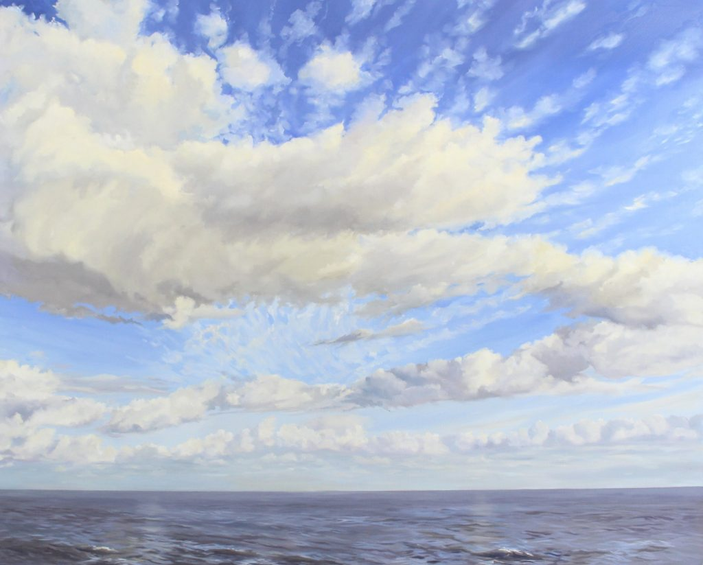 Big Clouds Seascape Blue Skies Walton on the Naze backwaters Essex Dawn Hall Artist Oil on canvas