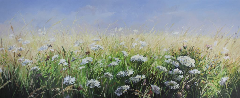 Backwater flora Walton On The Naze Essex Dawn Hall Artist Oil on Canvas Painting