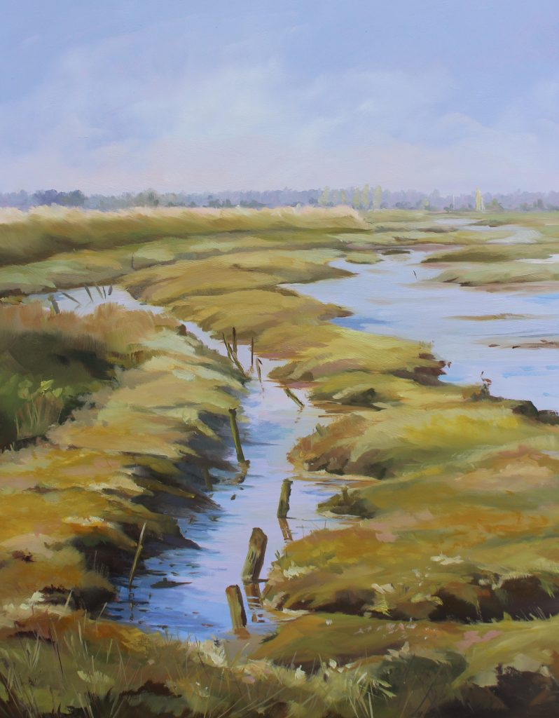 From Naze Beach Walton On The Naze Essex Dawn Hall Artist Oil on Board Painting