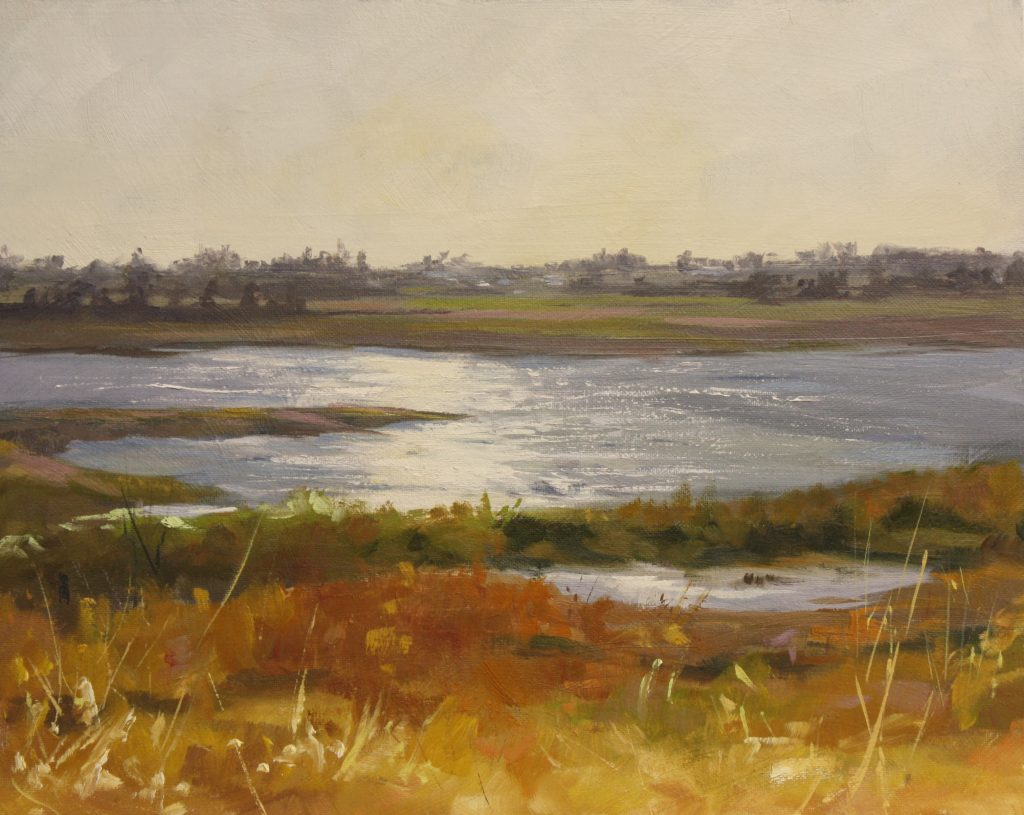 Gold Walton On The Naze Backwaters Essex Dawn Hall Artist Oil on Canvas Painting