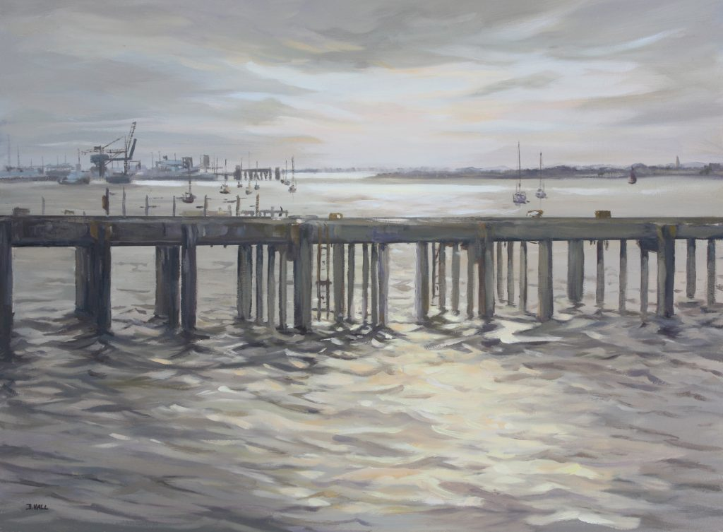 Harwich Essex Pier Painting Oils Dawn Hall Artist